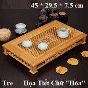 khay trà tre họa tiết chữ Hòa kiểu dáng hiện đại