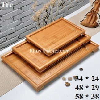 khay trà tre để ấm chén trà có 3 cỡ bền đẹp ktt02