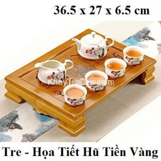 khay trà tre họa tiết hũ tiền vàng để ấm chén trà cỡ nhỏ bền đẹp
