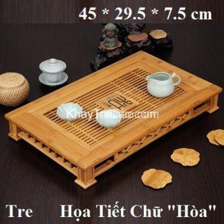 khay trà tre họa tiết chữ Hòa để ấm chén trà dáng chân vuông bền đẹp
