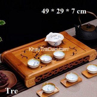 khay trà tre khổng minh để ấm chén trà họa tiết phỏng cổ bền đẹp