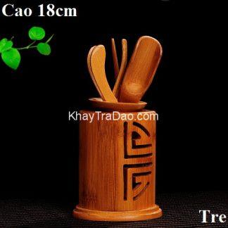 dụng cụ pha trà gồm nhiều trà cụ bằng tre cầm thuận tay bền đẹp