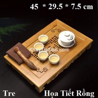 khay trà tre chạm khắc rồng đựng ấm chén trà có khay nhựa hứng nước bền đẹp