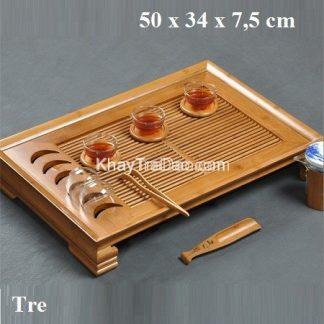 khay trà tre để ấm chén trà tích hợp giá gác ly trà có khay đựng nước