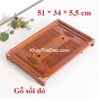 khay trà gỗ bằng gỗ sồi đỏ để ấm chén trà bền đẹp giá rẻ