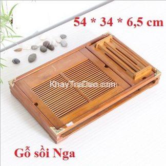 Khay trà gỗ bằng gỗ sồi Nga để ấm chén trà có giá gác ly bền đẹp giá rẻ