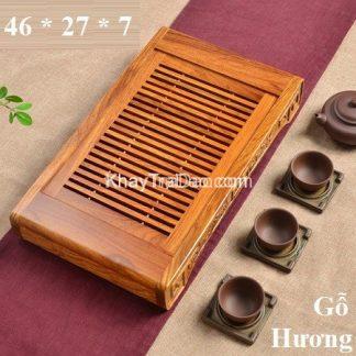 khay trà gỗ hương để ấm chén trà có bền đẹp ktg07