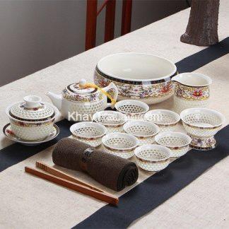 bộ ấm trà đẹp men sứ pha lê cao cấp thấu quang