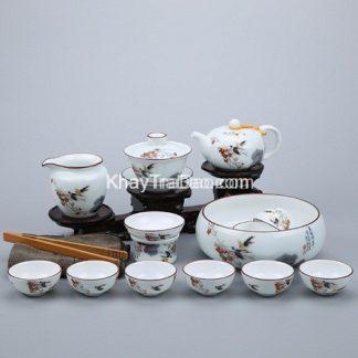 bộ ấm trà đẹp men sứ cao cấp họa tiết báo xuân