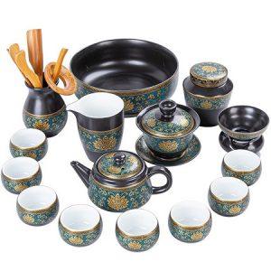 Bộ ấm trà cao cấp gốm cảnh đức trấn hoạ tiết phỏng cổ nhiều dụng cụ pha trà đẹp