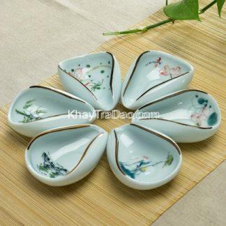 cung nhãn trà gốm sứ cao cấp họa tiết hoa đẹp dùng để xúc trà