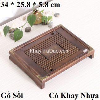khay trà bằng gỗ sồi bền đẹp để ấm chén trà loại nhỏ gọn sang trọng ktg14