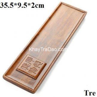 khay trà tre độc ẩm để ấm chén trà dáng hình chữ nhật dài đơn giản sang trọng ktt35