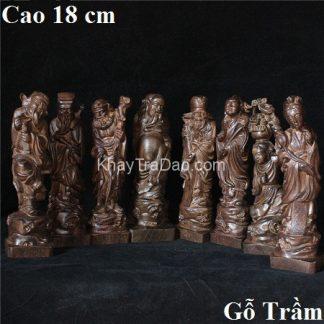 tượng gỗ bát tiên bằng gỗ trầm cao 18cm thủ công đẹp