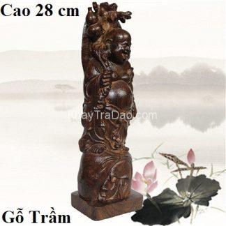 tượng gỗ di lặc bằng gỗ trầm cao 28cm thủ công đẹp tg05