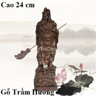 tượng gỗ quan công dáng đứng vuốt râu cầm đao bằng gỗ trầm cao 24cm đẹp