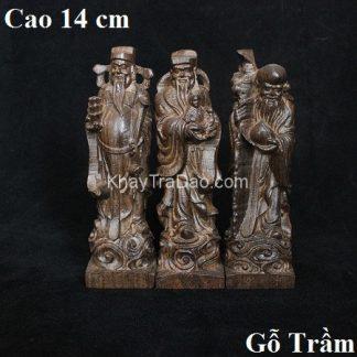 tượng gỗ tam đa bằng gỗ trầm cao 14cm thủ công đẹp