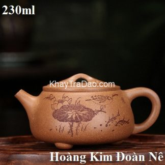 ấm trà tử sa nghi hưng dáng thạch biều nguyên khoáng hoàng kim đoàn nê khắc liên ngư đẹp