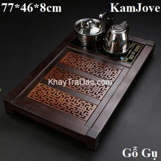 bàn trà điện đa năng khung gỗ gụ kèm bộ điện đun nước pha trà tự động kj507