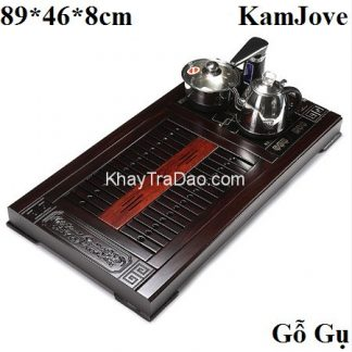 bàn trà điện đa năng khung gỗ gụ thủ công bền đẹp kèm bộ pha trà điện kamjove kj503