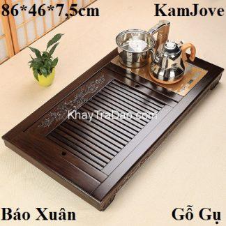 bàn trà điện đa năng khung gỗ gụ kèm bộ điện đun nước pha trà tự động xoay vòi kj529