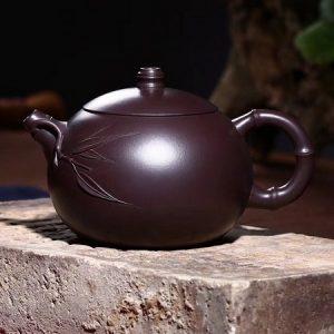 ấm trà tử sa tây thi trúc cao cấp thủ công nguyên khoáng tử nê thuần xịn 260ml đẹp xinh.