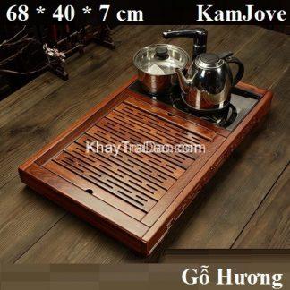 bàn trà điện đa năng khung gỗ hương nhỏ gọn