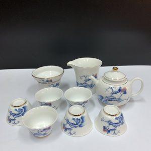 Bộ ấm trà gốm sứ cảnh đức vẽ tay báo xuân thủ công dùng để pha trà xanh ngon