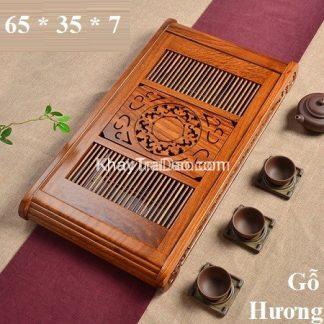 khay trà gỗ hương đựng ấm chén trà dáng to bền đẹp ktg17