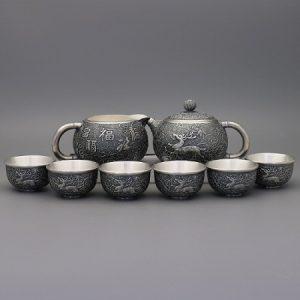 bộ ấm trà bạc cao cấp nguyên chất 999 thủ công dáng tây thi hoạ tiết phúc lộc đẹp