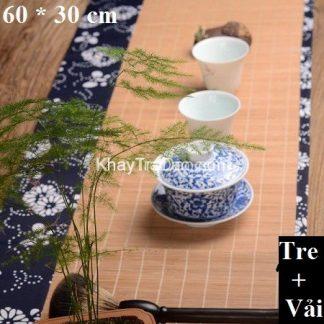 chiếu trà bằng tre nẹp vải hoa bền đẹp