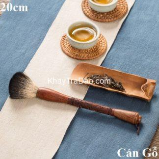 chổi trà đẹp cán gỗ chạm khắc phong vân lông mềm mượt dùng nuôi cao gốm tử sa