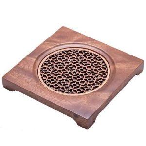 đế ấm trà gỗ lót đồng dáng vuông dùng kê ấm trà đẹp 14cm