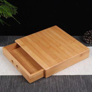 hộp đựng trà phổ nhĩ bằng tre dáng ngăn kéo vuông 1 tầng vát góc bền đẹp HPN02.