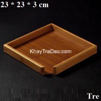 khay đựng trà phổ nhĩ bằng tre dáng vuông vát góc đẹp