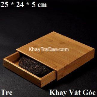 hộp đựng trà phổ nhĩ bằng tre dạng ngăn kéo vuông hpn02