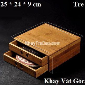 hộp đựng trà phổ nhĩ bằng tre ngăn kéo 2 tầng khay vát góc đẹp