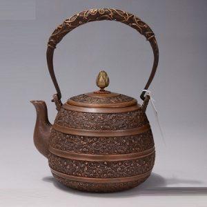 ấm tetsubin bằng đồng đỏ đun nước pha trà hoạ tiết phỏng cổ dung tích 1,2 lít