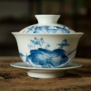 ấm tống pha trà sứ cảnh đức vẽ tay hoa sen 150ml pha trà thảo mộc ngon
