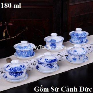 ấm trà sứ dạng ấm tống pha trà gốm cảnh đức trấn hoạ tiết đẹp