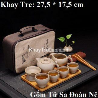 bộ ấm trà du lịch gốm tử sa đoàn nê có khay trà và túi đựng ấm chén at39