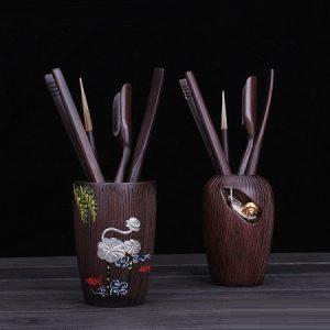 dụng cụ pha trà bằng gỗ đàn đính bạc hình ốc sen và hoa đẹp KH20.