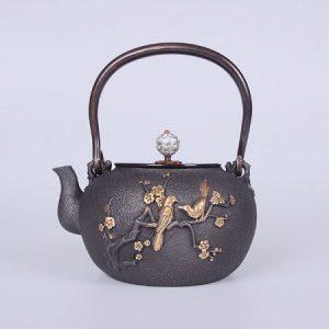 ấm gang nhật bản đắp nổi báo xuân mai chim thủ công đẹp dùng để đun nước pha trà ngon 1,4l
