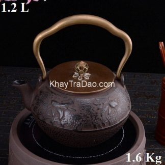 ấm tetsubin nhật bản bằng gang đun nước pha trà rất ngon họa tiết cá đẹp an11