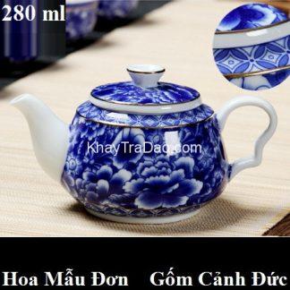 ấm trà sứ gốm cảnh đức cao cấp họa tiết hoa mẫu đơn xanh