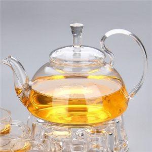 ấm trà thuỷ tinh cao cấp pha trà hoa thảo mộc 600ml chặn trà lò xo bền đẹp