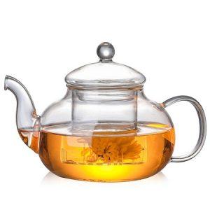 ấm trà thủy tinh pha trà hoa loại chịu nhiệt tốt đun không vỡ pha trà hoa 600ml
