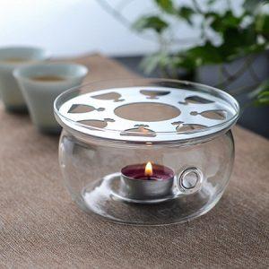 bếp đun ấm trà thủy tinh giữ nhiệt tốt dùng với nến thơm giá rẻ dáng tròn