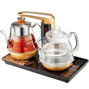 bộ ấm pha trà bằng điện thông minh gồm 2 ấm đun nước pha trà tự động kamjove ga909