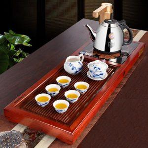 bộ bàn trà điện gỗ hương kèm siêu đun nước pha trà bền đẹp giá rẻ KamJove V13